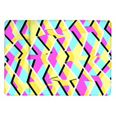 Bright Zig Zag Scribble Yellow Pink Samsung Galaxy Tab 10 1  P7500 Flip Case