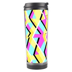 Bright Zig Zag Scribble Yellow Pink Travel Tumbler by Alisyart