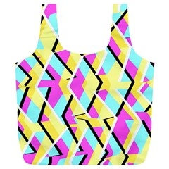 Bright Zig Zag Scribble Yellow Pink Full Print Recycle Bags (l)