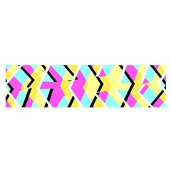 Bright Zig Zag Scribble Yellow Pink Satin Scarf (oblong)