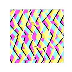 Bright Zig Zag Scribble Yellow Pink Small Satin Scarf (square)