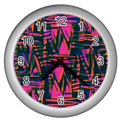 Bright Zig Zag Scribble Pink Green Wall Clocks (silver)