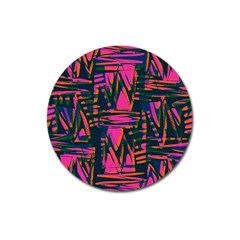 Bright Zig Zag Scribble Pink Green Magnet 3  (round)