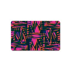 Bright Zig Zag Scribble Pink Green Magnet (name Card)