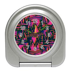 Bright Zig Zag Scribble Pink Green Travel Alarm Clocks