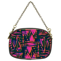 Bright Zig Zag Scribble Pink Green Chain Purses (two Sides)