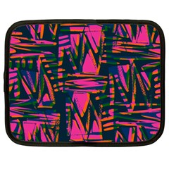 Bright Zig Zag Scribble Pink Green Netbook Case (xxl)
