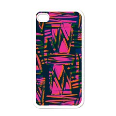 Bright Zig Zag Scribble Pink Green Apple Iphone 4 Case (white)