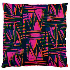 Bright Zig Zag Scribble Pink Green Large Cushion Case (two Sides) by Alisyart