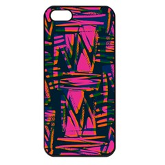 Bright Zig Zag Scribble Pink Green Apple Iphone 5 Seamless Case (black)
