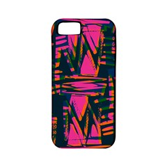 Bright Zig Zag Scribble Pink Green Apple Iphone 5 Classic Hardshell Case (pc+silicone)