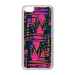Bright Zig Zag Scribble Pink Green Apple Iphone 5c Seamless Case (white)