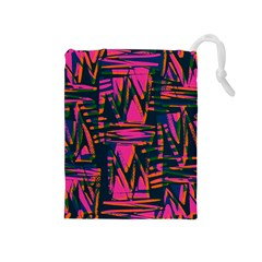 Bright Zig Zag Scribble Pink Green Drawstring Pouches (medium)
