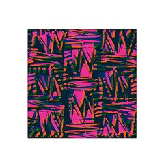 Bright Zig Zag Scribble Pink Green Satin Bandana Scarf by Alisyart
