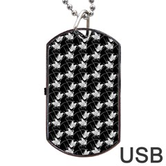 Butterfly Black Dog Tag Usb Flash (one Side)