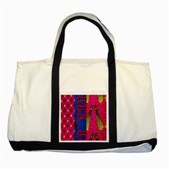Broom Stick Gold Yellow Pink Blue Plaid Two Tone Tote Bag