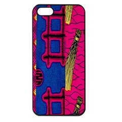 Broom Stick Gold Yellow Pink Blue Plaid Apple Iphone 5 Seamless Case (black)