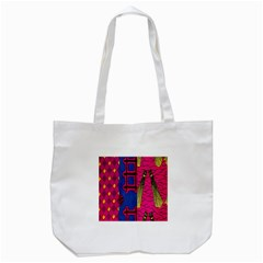 Broom Stick Gold Yellow Pink Blue Plaid Tote Bag (white)