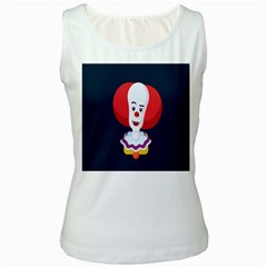Clown Face Red Yellow Feat Mask Kids Women s White Tank Top