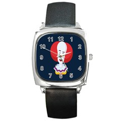 Clown Face Red Yellow Feat Mask Kids Square Metal Watch