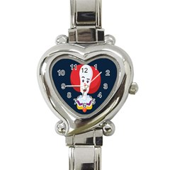 Clown Face Red Yellow Feat Mask Kids Heart Italian Charm Watch