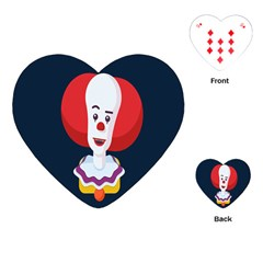 Clown Face Red Yellow Feat Mask Kids Playing Cards (heart)  by Alisyart
