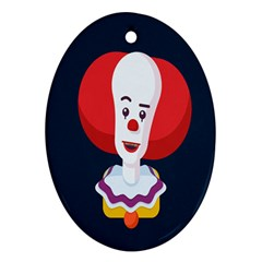 Clown Face Red Yellow Feat Mask Kids Oval Ornament (two Sides)