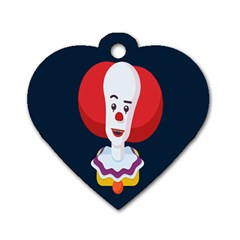 Clown Face Red Yellow Feat Mask Kids Dog Tag Heart (one Side) by Alisyart
