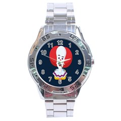 Clown Face Red Yellow Feat Mask Kids Stainless Steel Analogue Watch by Alisyart