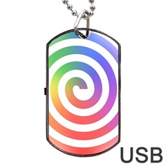 Circle Purple Blue Red Green Yellow Dog Tag Usb Flash (one Side)