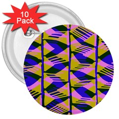Crazy Zig Zags Blue Yellow 3  Buttons (10 Pack)