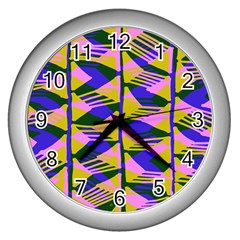 Crazy Zig Zags Blue Yellow Wall Clocks (silver)