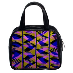 Crazy Zig Zags Blue Yellow Classic Handbags (2 Sides)