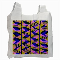 Crazy Zig Zags Blue Yellow Recycle Bag (one Side) by Alisyart