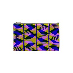 Crazy Zig Zags Blue Yellow Cosmetic Bag (small)