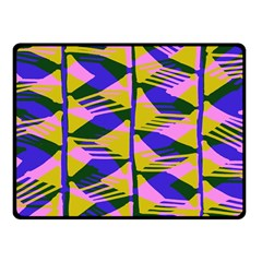 Crazy Zig Zags Blue Yellow Fleece Blanket (small)