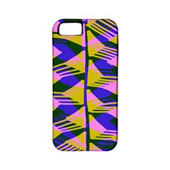 Crazy Zig Zags Blue Yellow Apple Iphone 5 Classic Hardshell Case (pc+silicone)
