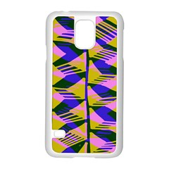 Crazy Zig Zags Blue Yellow Samsung Galaxy S5 Case (white)
