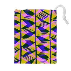 Crazy Zig Zags Blue Yellow Drawstring Pouches (extra Large) by Alisyart