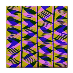 Crazy Zig Zags Blue Yellow Tile Coasters by Alisyart
