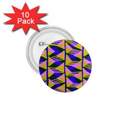 Crazy Zig Zags Blue Yellow 1 75  Buttons (10 Pack)