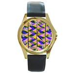 Crazy Zig Zags Blue Yellow Round Gold Metal Watch Front