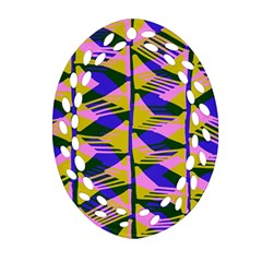 Crazy Zig Zags Blue Yellow Ornament (oval Filigree)