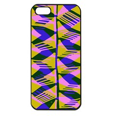 Crazy Zig Zags Blue Yellow Apple Iphone 5 Seamless Case (black)