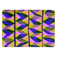 Crazy Zig Zags Blue Yellow Samsung Galaxy Tab 10 1  P7500 Flip Case
