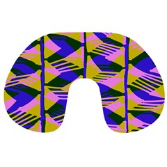 Crazy Zig Zags Blue Yellow Travel Neck Pillows by Alisyart