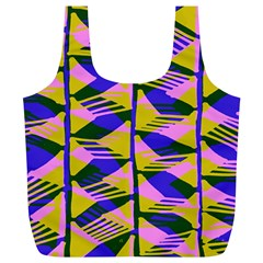 Crazy Zig Zags Blue Yellow Full Print Recycle Bags (l)  by Alisyart
