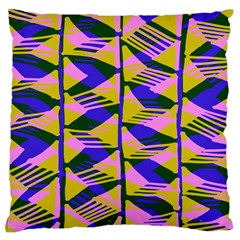 Crazy Zig Zags Blue Yellow Standard Flano Cushion Case (two Sides)