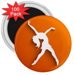 Dance Dancing Orange Girl 3  Magnets (100 Pack)