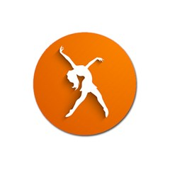 Dance Dancing Orange Girl Magnet 3  (round)